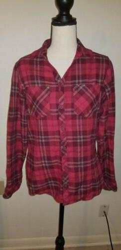 Columbia Flannel Cotton Red  Plaid Shirt Women's  Sz. Small