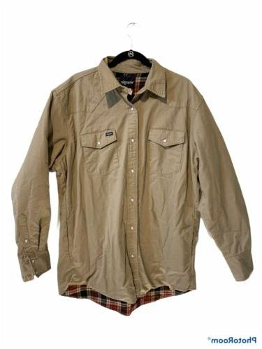 flannel lined pearl snap shirt size xlt