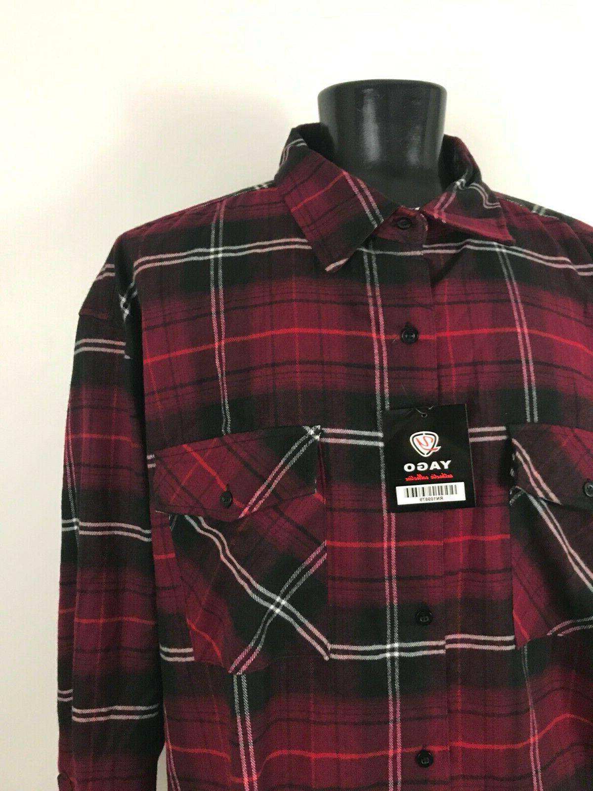 Yago Flannel Long Shirt Black Plaid Slv XXXXL