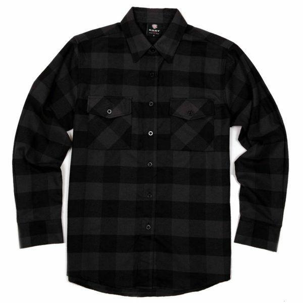 flannel long sleeve shirt charcoal black yg2508