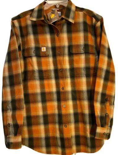 flannel plaid button front work shirt medium