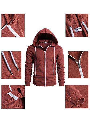 Checkered Sleeve Shirt Hoodie Maroon US S/Asia M