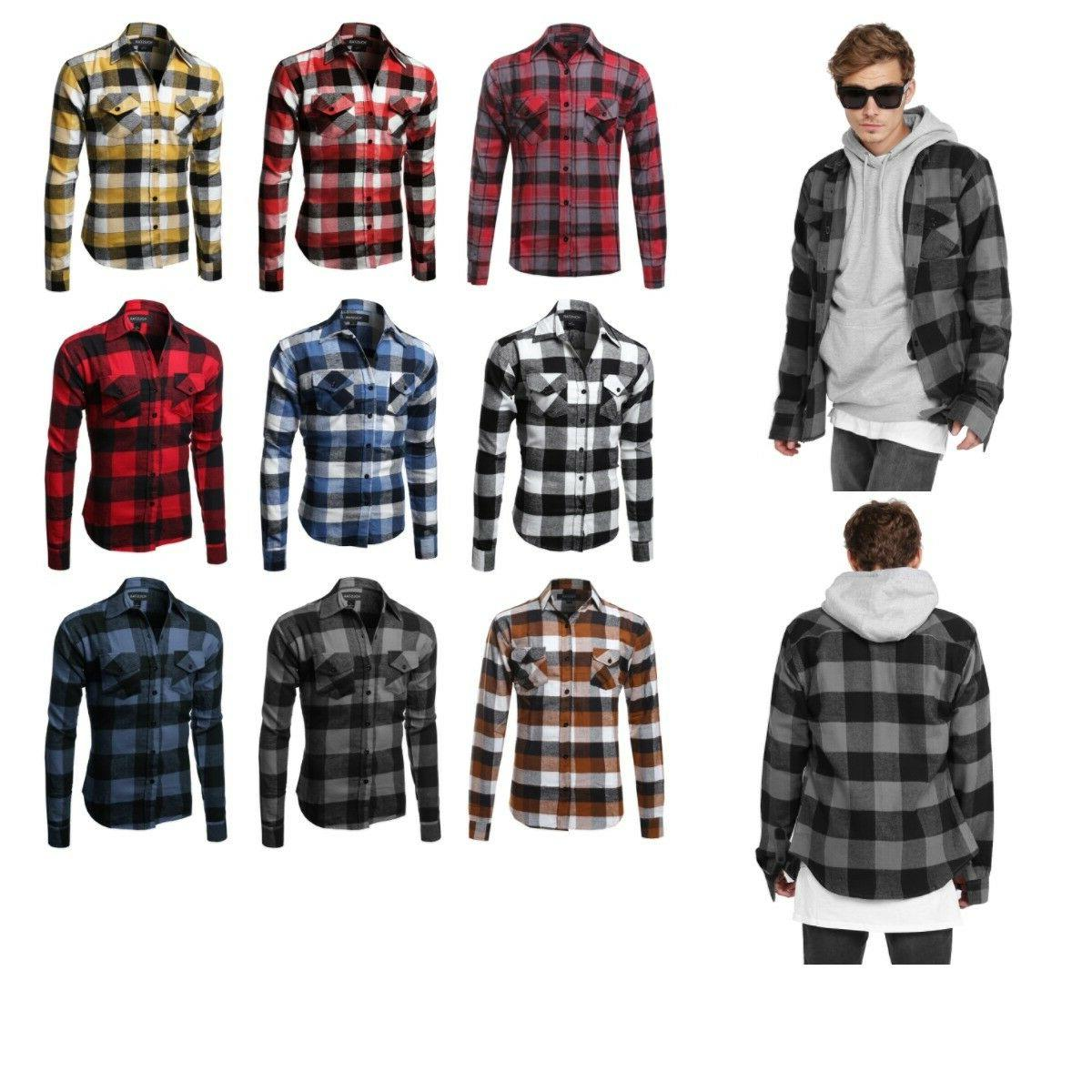 flannel plaid checkers long sleeve button down