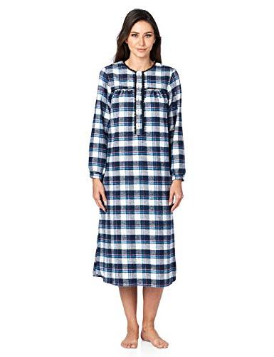flannel plaid long sleeve nightgown