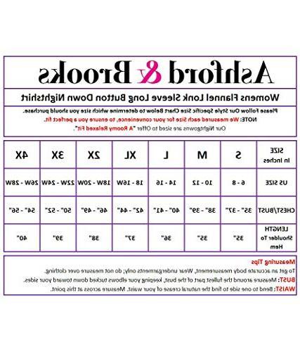 Ashford & Brooks Flannel Plaid Button Nightgown, Pink, 4XL