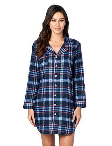 Ashford & Flannel Plaid Button Down Nightgown, Pink,