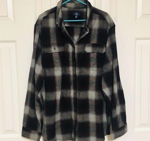 flannel shirt button front long sleeve burgundy
