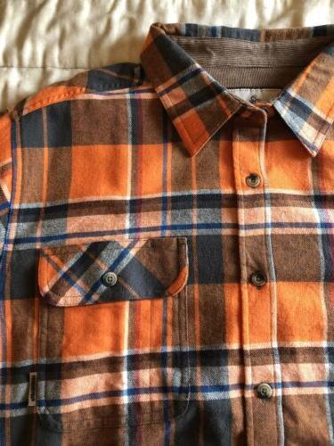 legendary whitetails Flannel Shirt L Nwt Orange White Blue