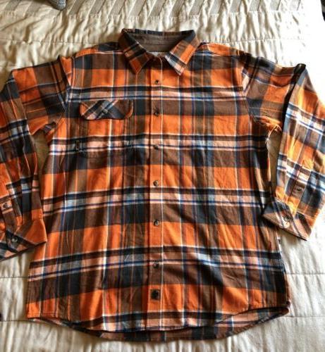 flannel shirt l nwt orange white blue
