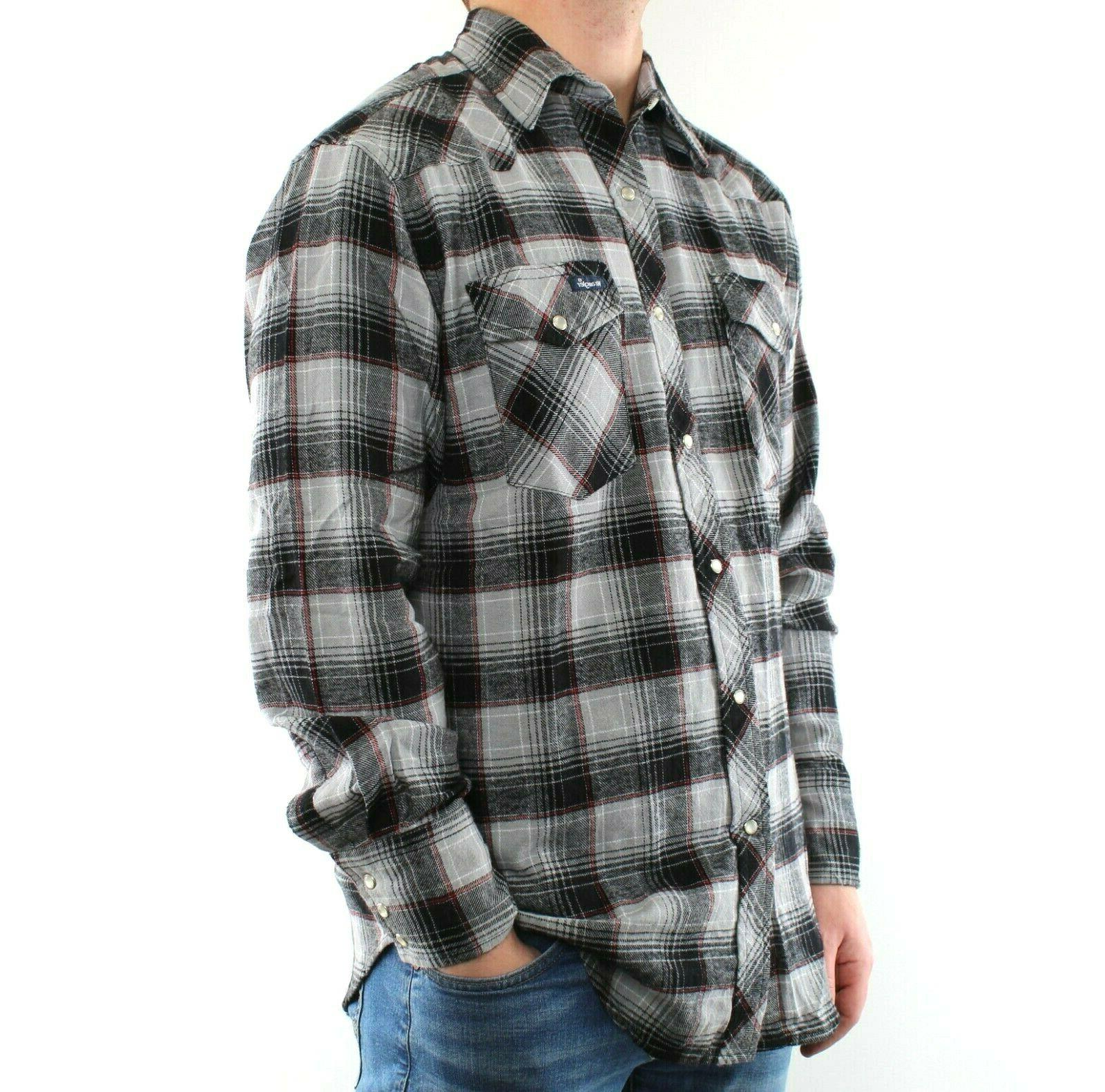 Wrangler Flannel Shirt Men's Plaid Western Snap 2 Pocket 100% Cotton