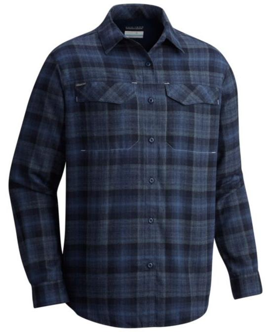 Columbia Flannel Shirt Men's Silver Sleeve NAVY BLUE