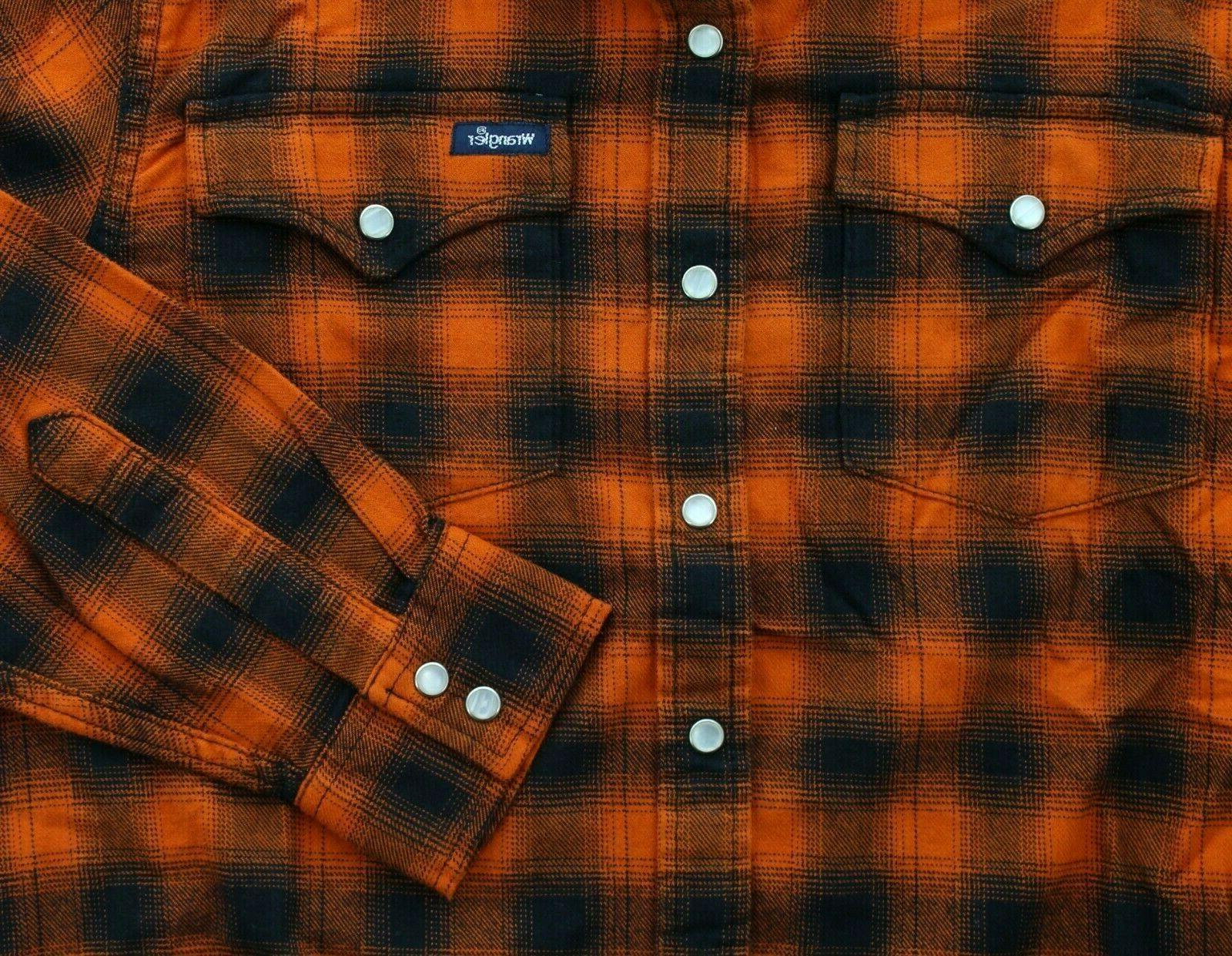Wrangler Flannel Mens Plaid Western Pearl Cotton