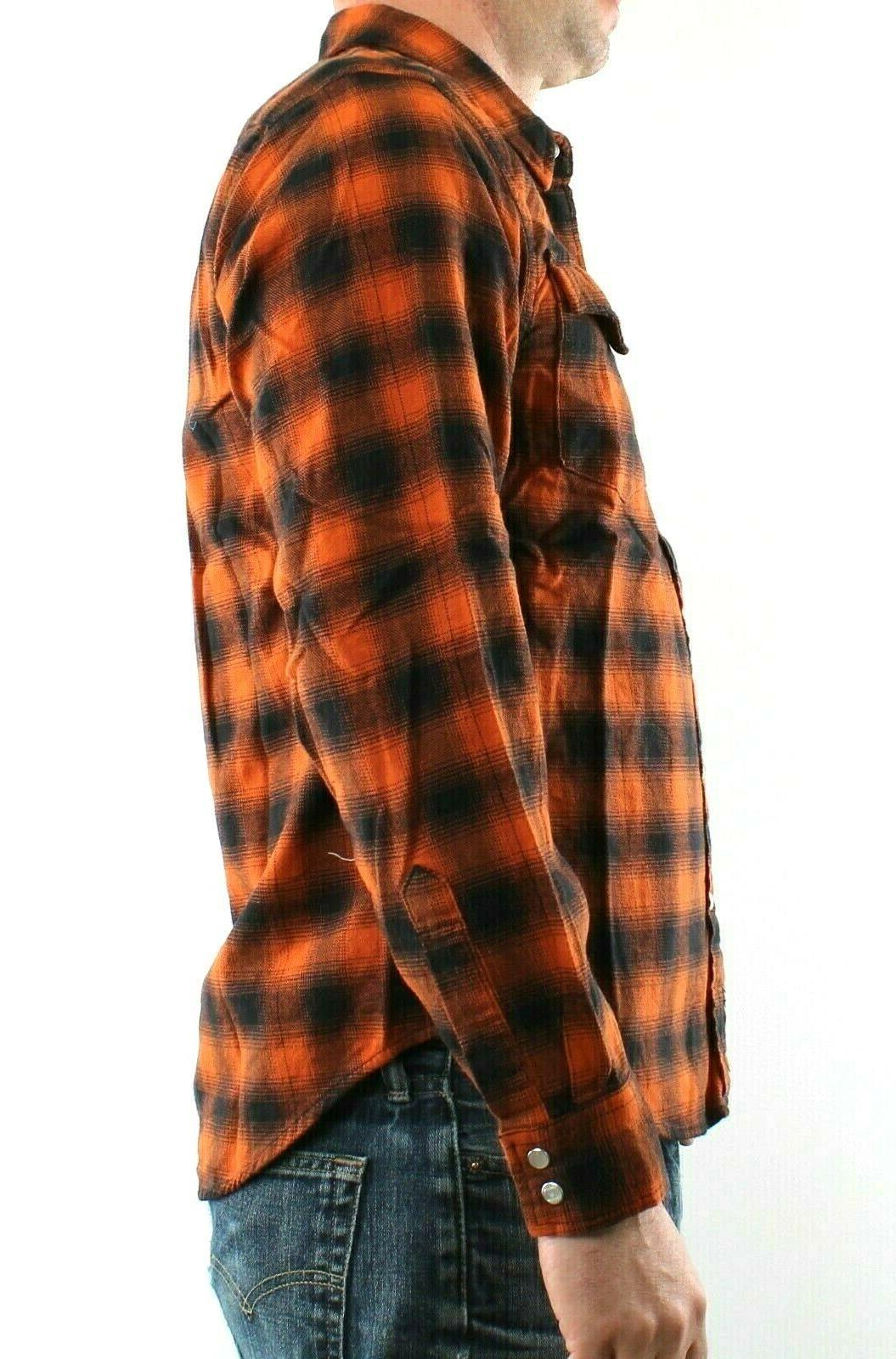 Wrangler Shirt Plaid 2 Pockets Western Snaps 100% Cotton