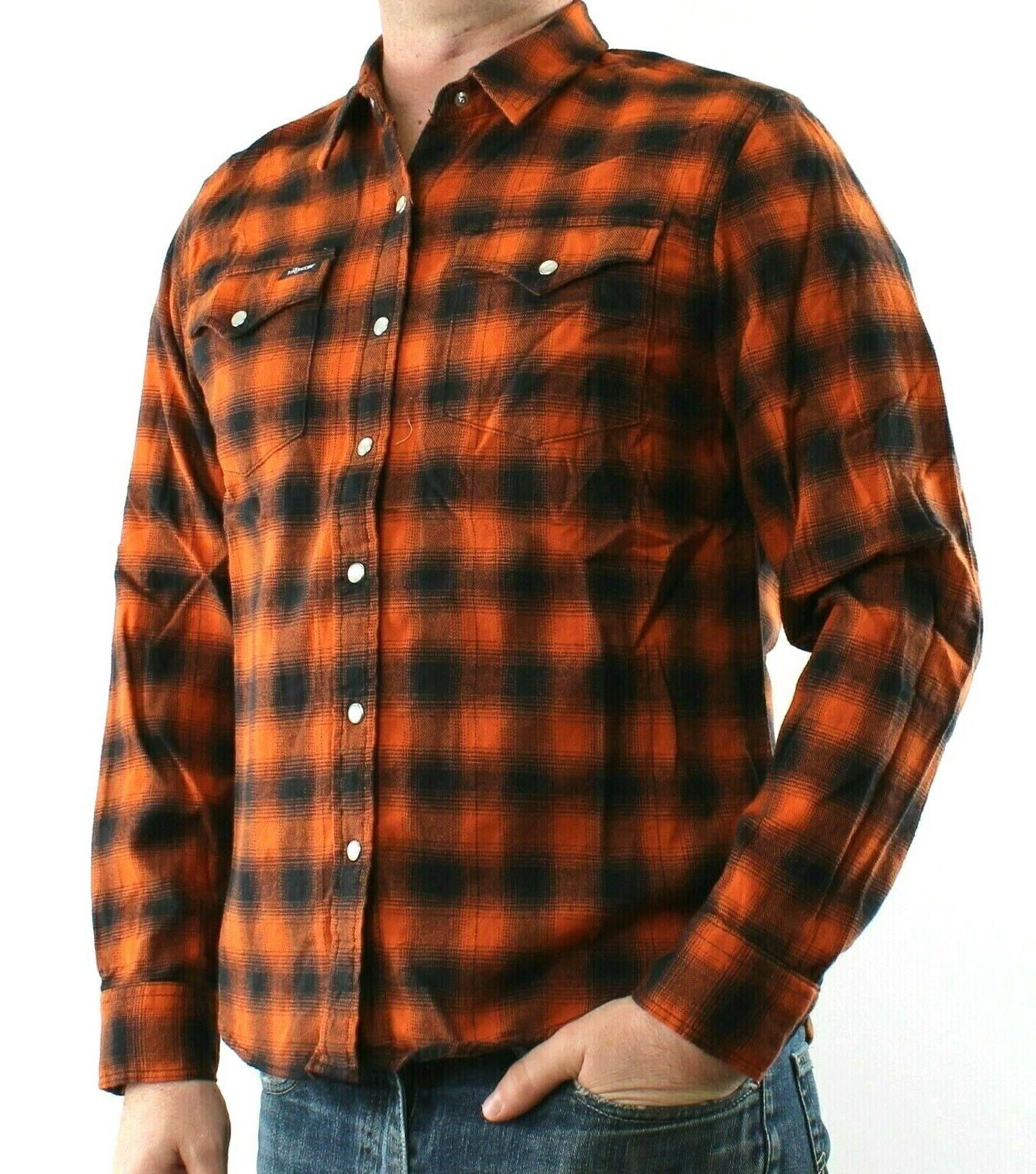 Wrangler Flannel Western Pearl Snaps Cotton