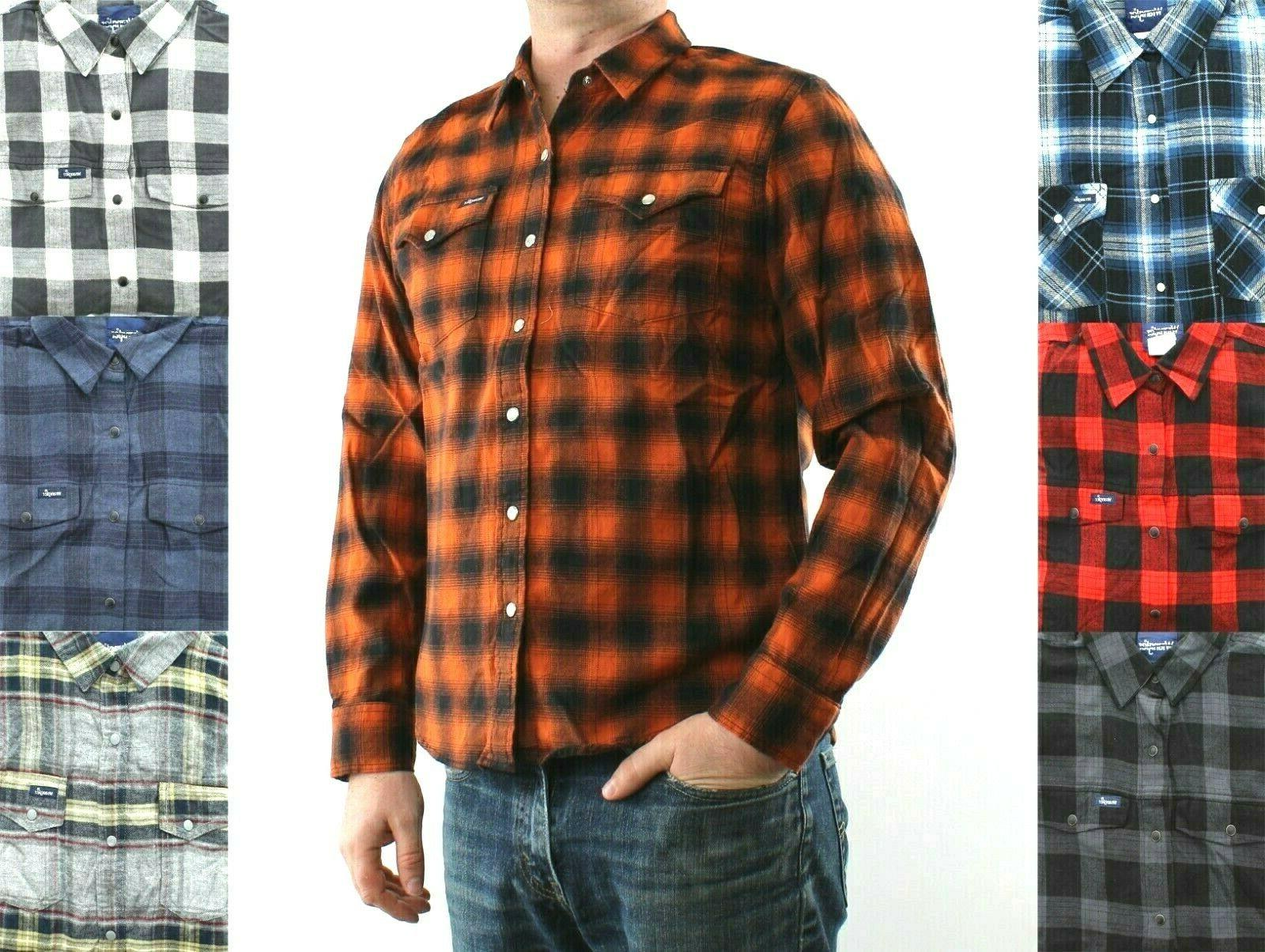 flannel shirt mens plaid with 2 pockets