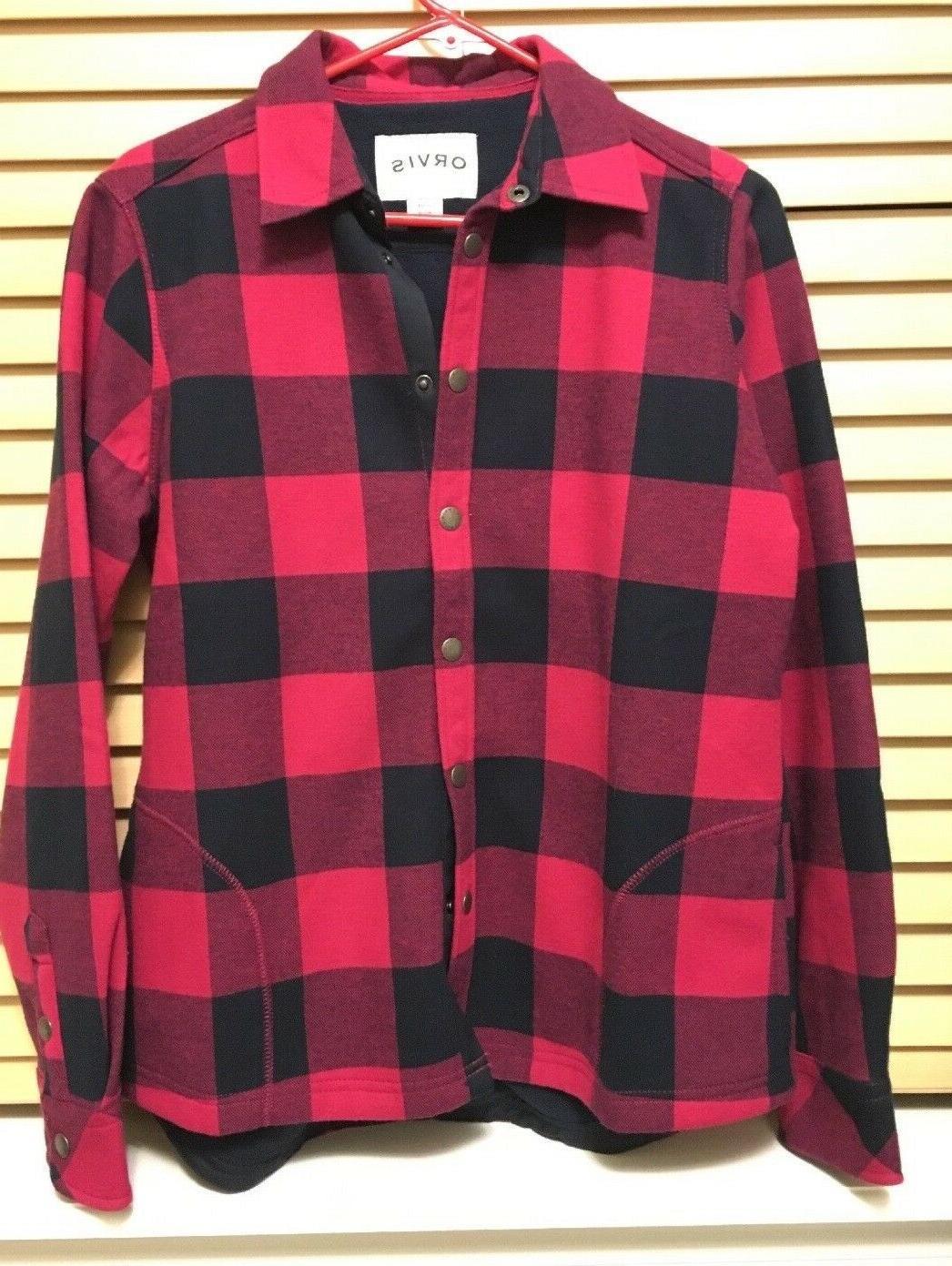 fleece lined snap up flannel shirt woman
