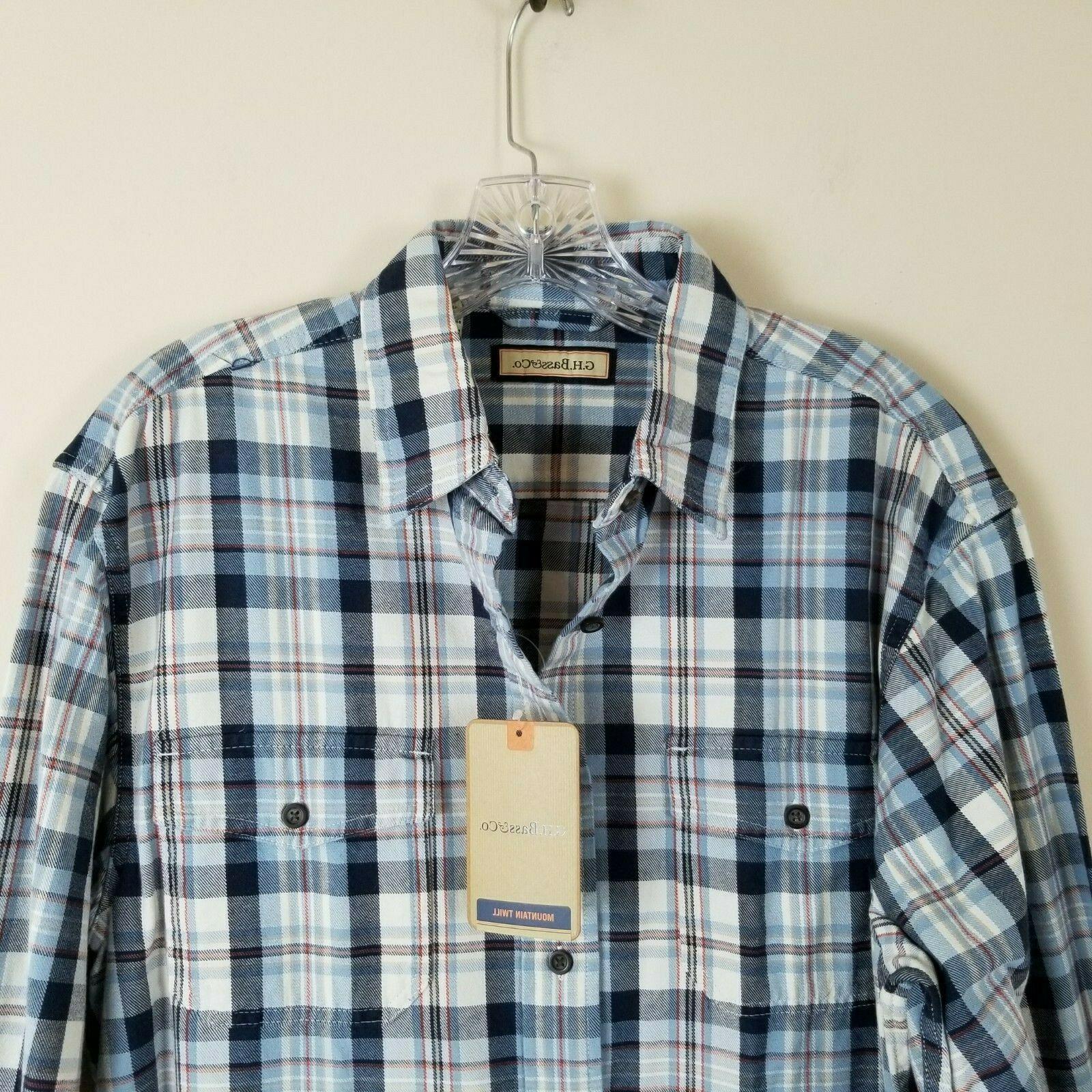 G.H. Bass Mountain Twill Plaid Flannel Shirt Medium M NEW