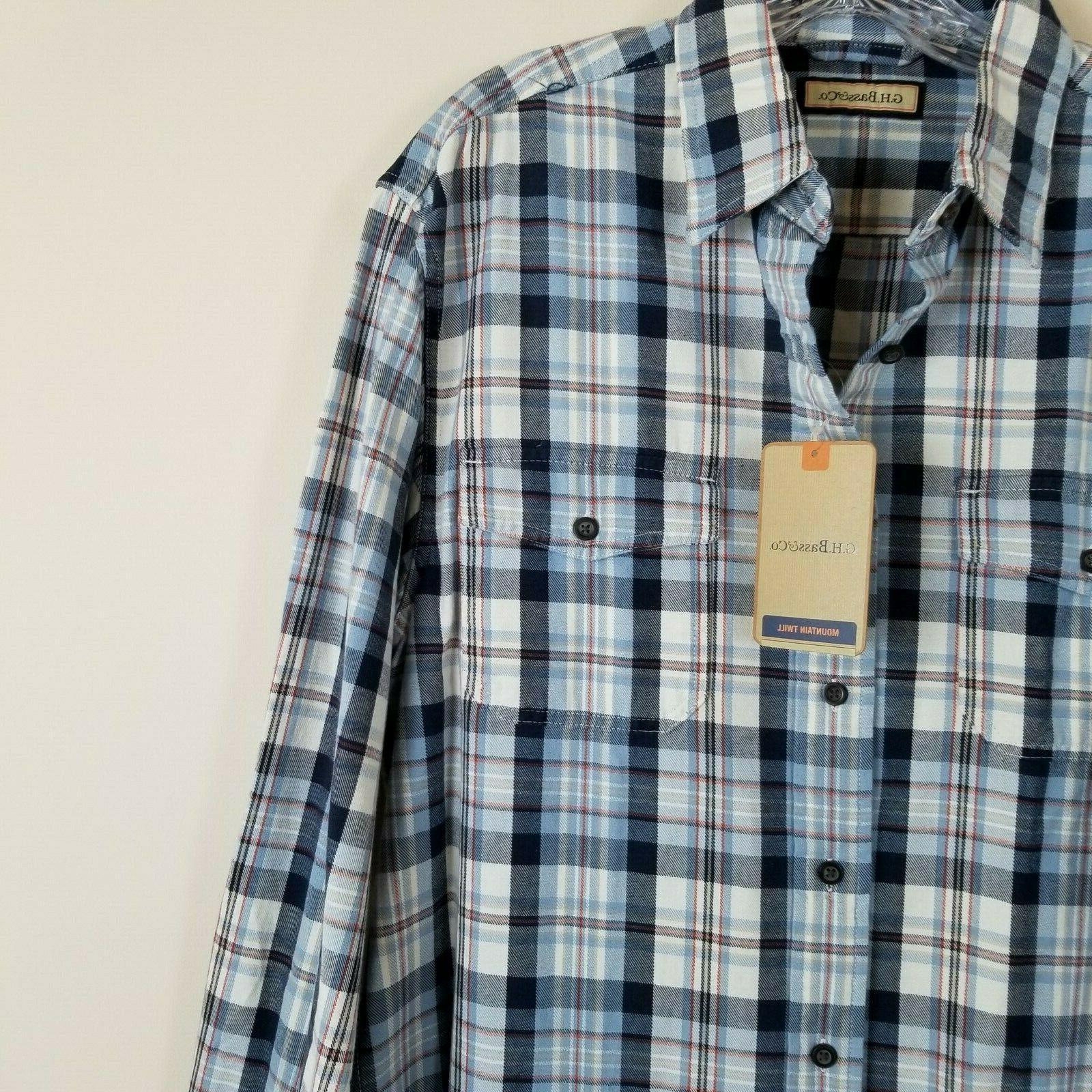 G.H. Bass Mountain Twill Shirt White Medium NEW