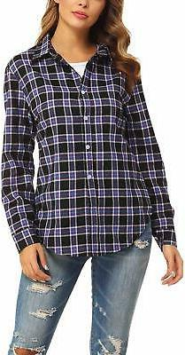 GUANYY Women's Long Sleeve Casual Loose Classic Plaid Button