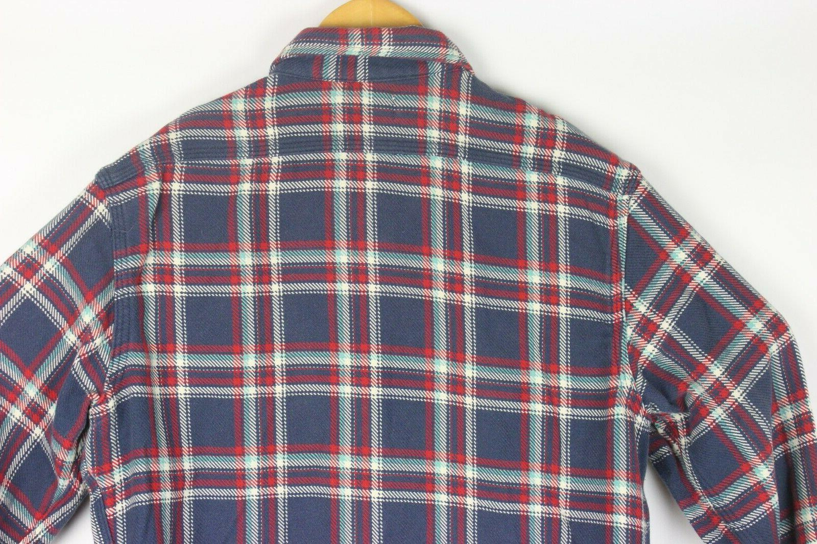 Taylor Stitch Heavy Flannel Work Shirt Blue Cat Eye