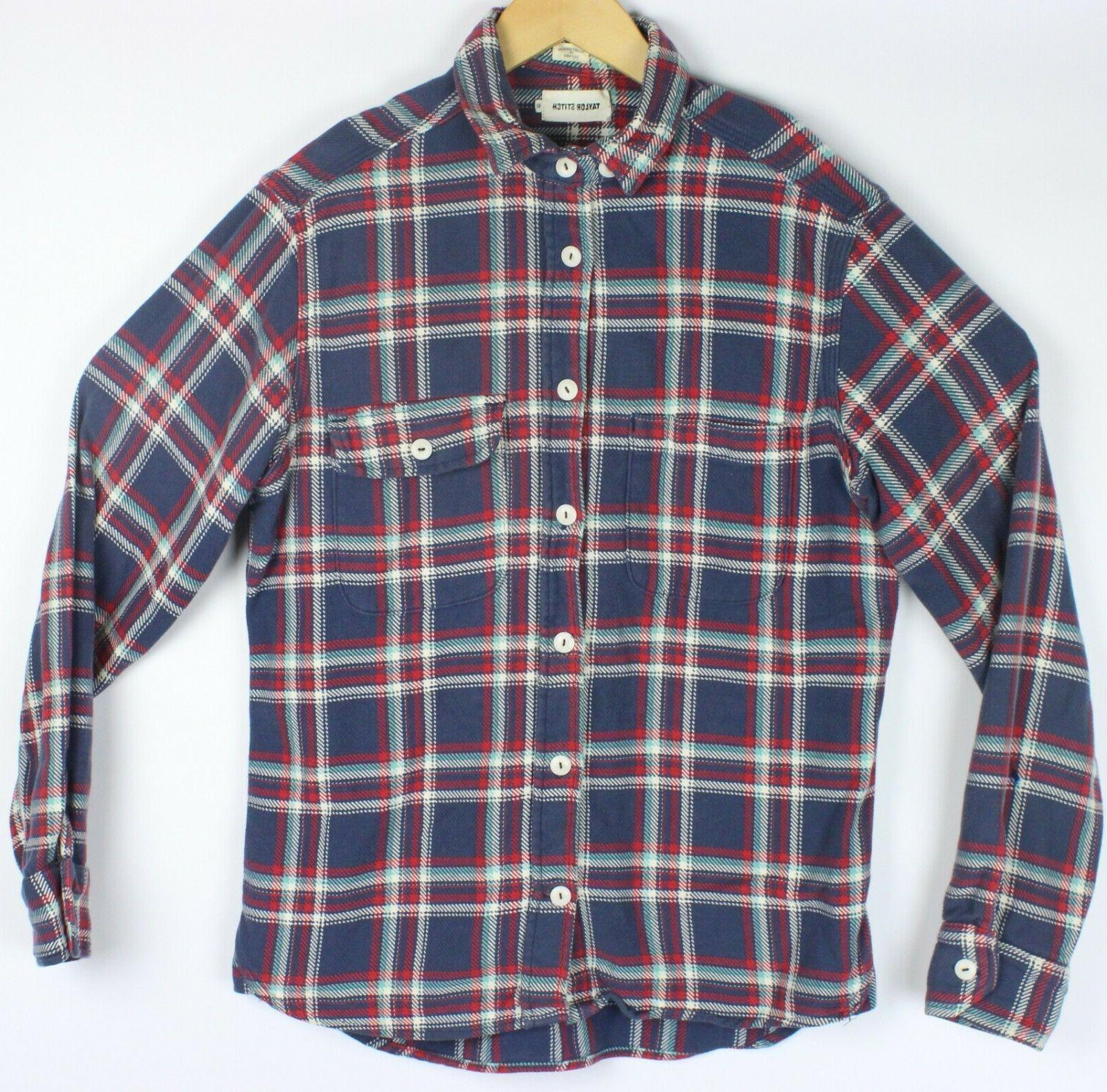 heavy flannel work shirt 40 red blue