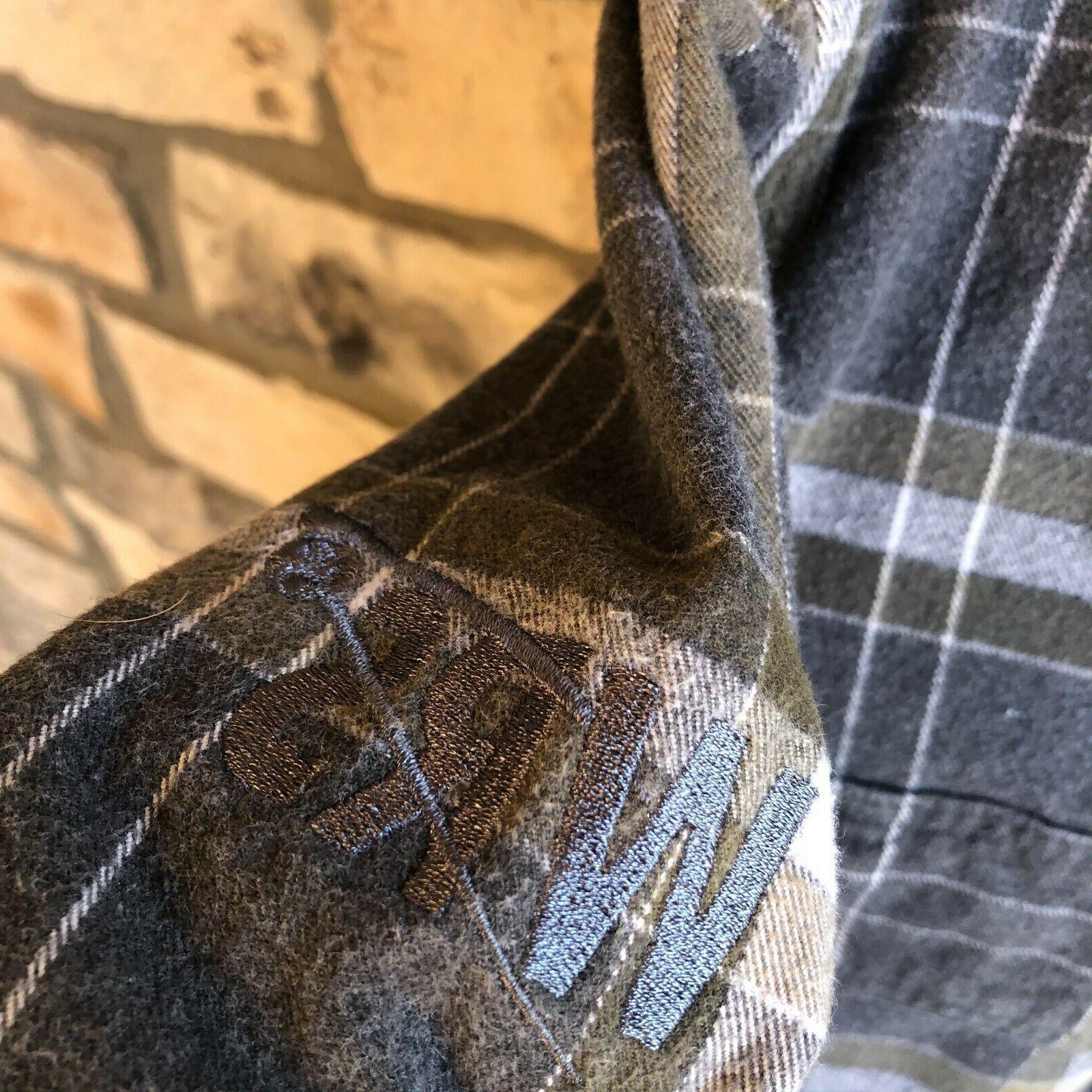 Carhartt Heavyweight Flannel Button Plaid Gray Work Men's