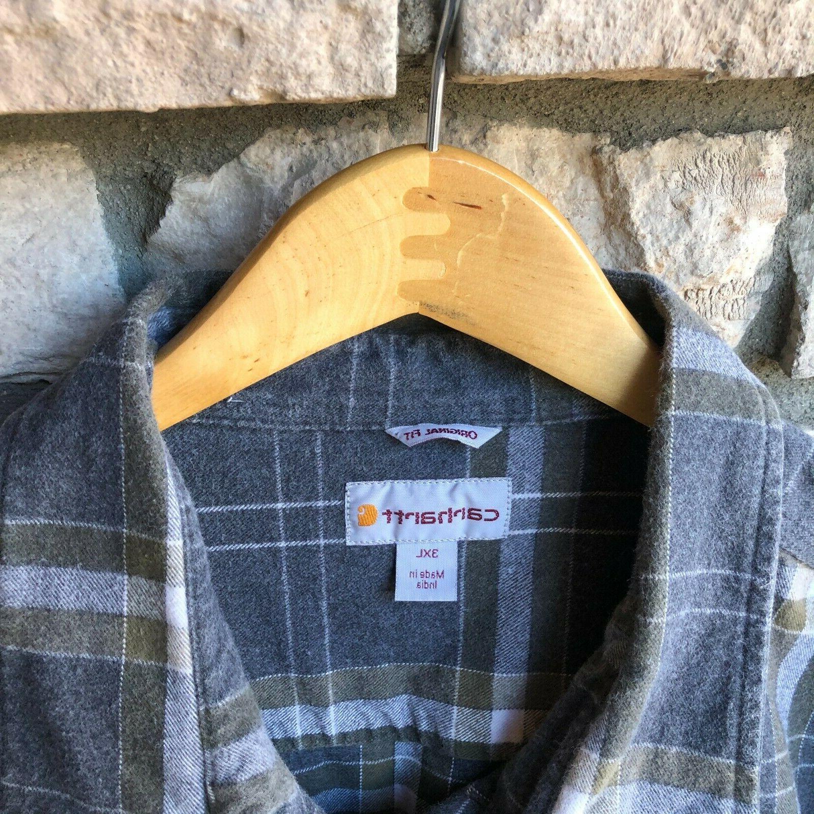 Carhartt Heavyweight Flannel Shirt Button Work 3XL