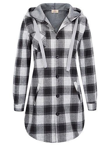 classic plaid cotton hoodie button