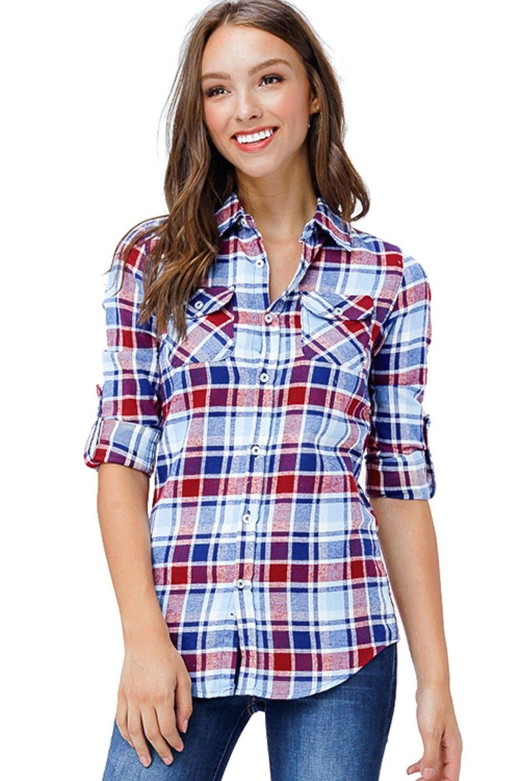 Inso Women's Plaid Checkered Long Cotton Button