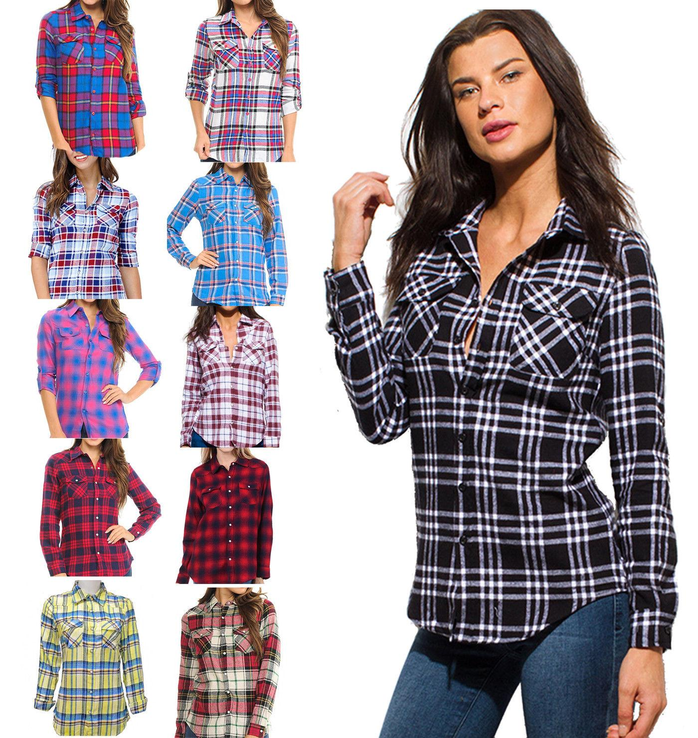 inso women s plaid flannel checkered long