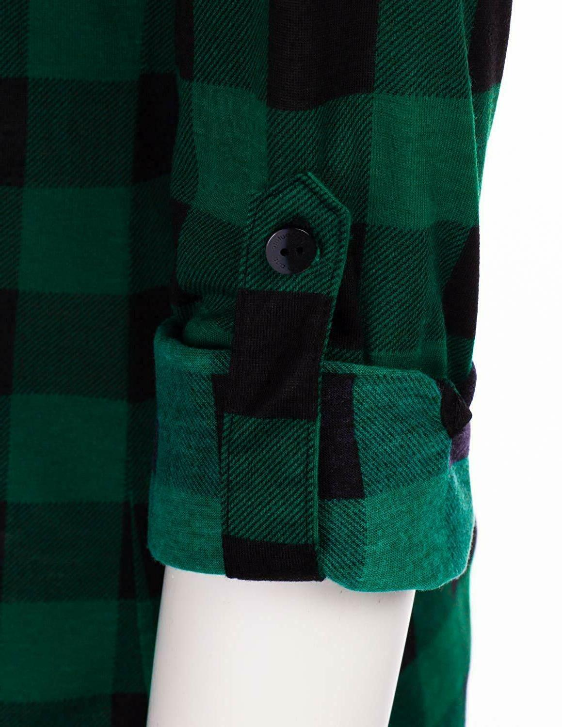 JJ Perfection Long Sleeve Collared Down Plaid Flannel