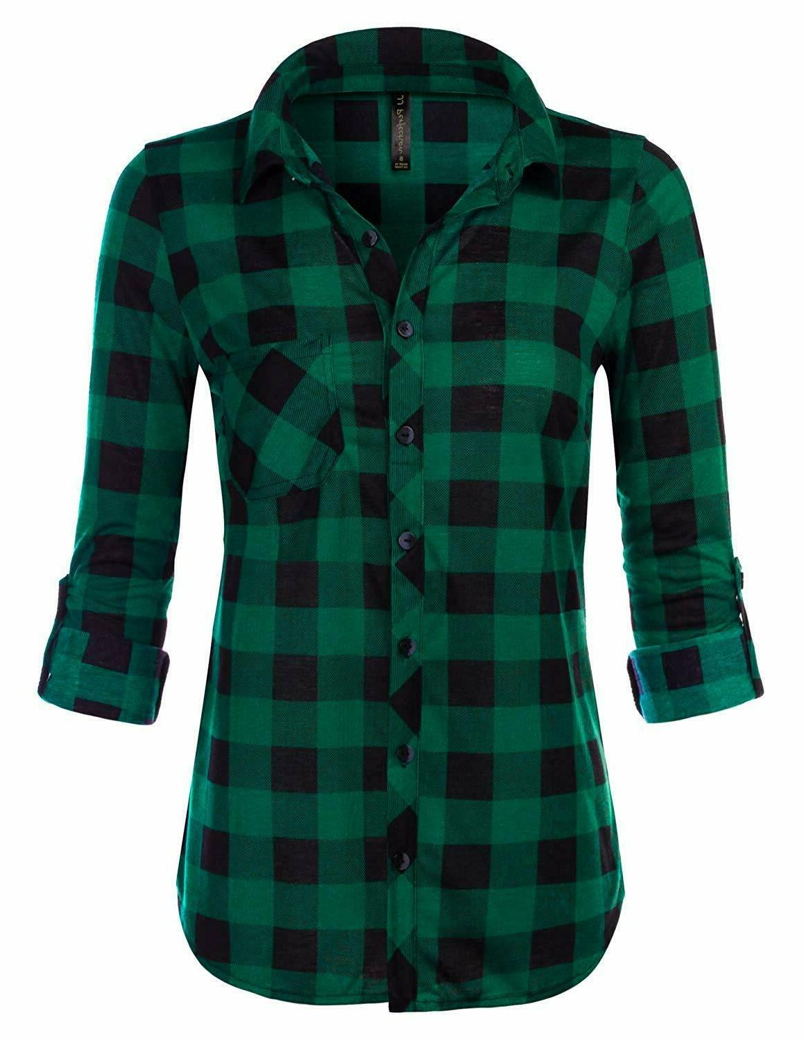 jj perfection womens long sleeve collared button