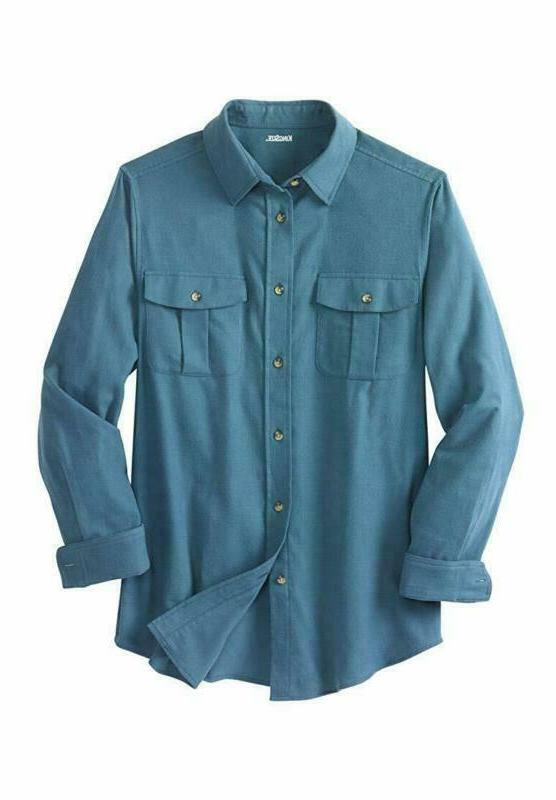 Kingsize Men'S Big Tall Solid Double-Brushed Shirt