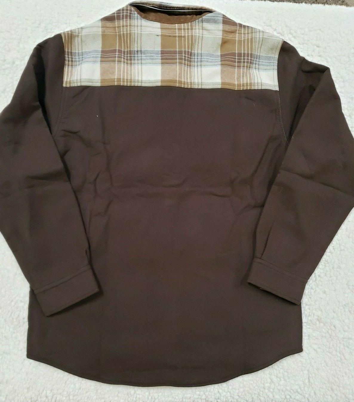 L Mens Whitetails Flannel Button Brown