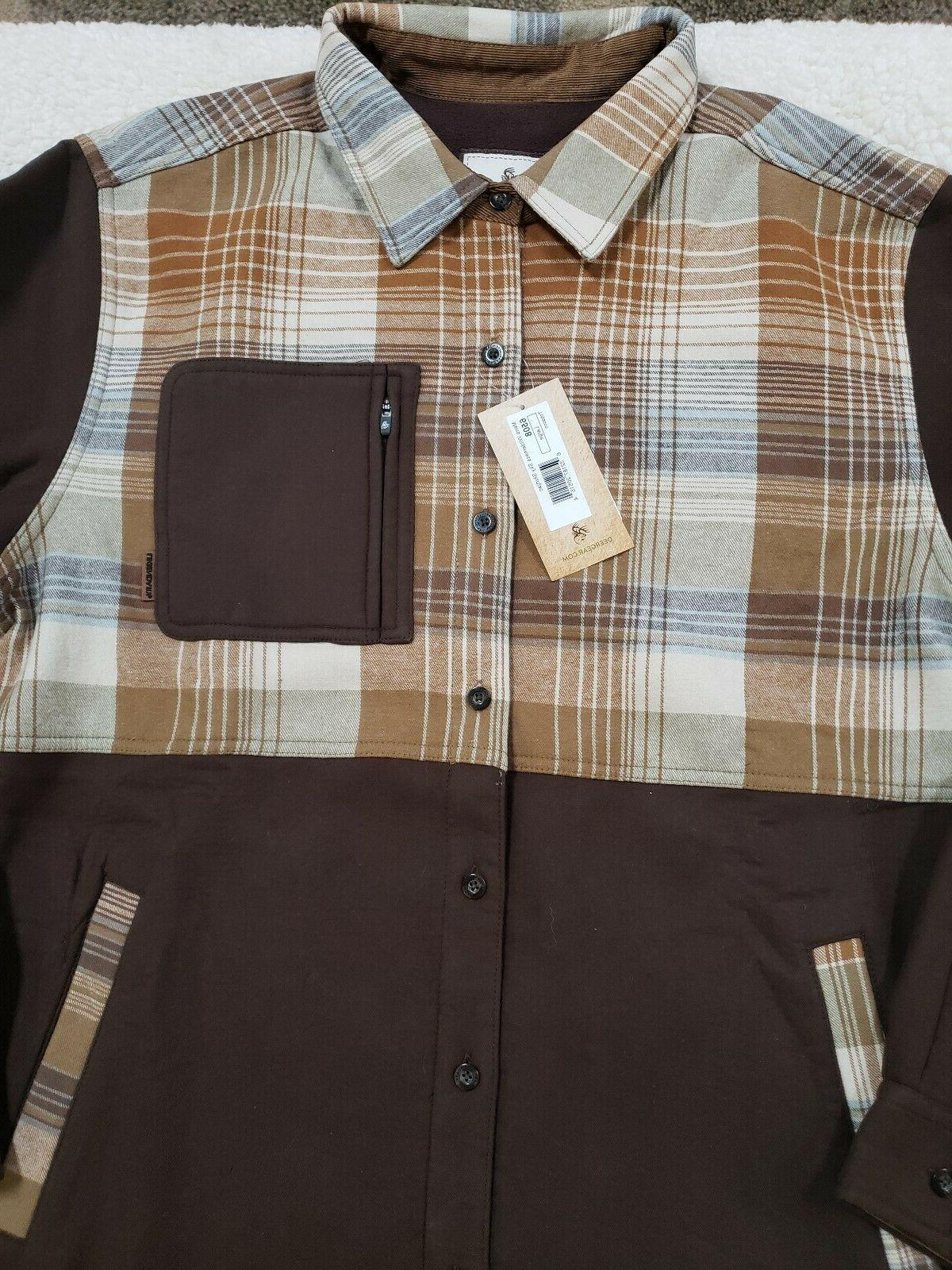 L Mens Flannel Button Up Brown