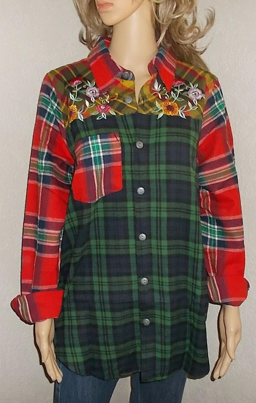 BLAIR Nothing Embroidered Plaid Shirt Tail Top