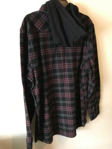 VANS L/S HEAVY FLANNEL HOODIE SKATE SHIRT MENS SZ LARGE XL NEW