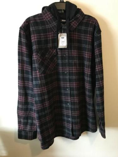 l s heavy flannel hoodie skate shirt