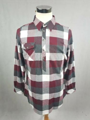 ladies firelight popover flannel tunic shirt nwt