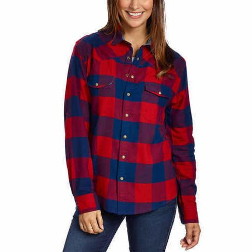 ladies flannel shirt red navy small