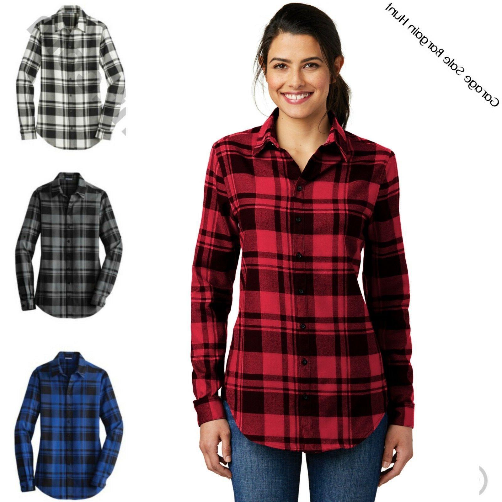 ladies womens plaid flannel shirt tunic xs