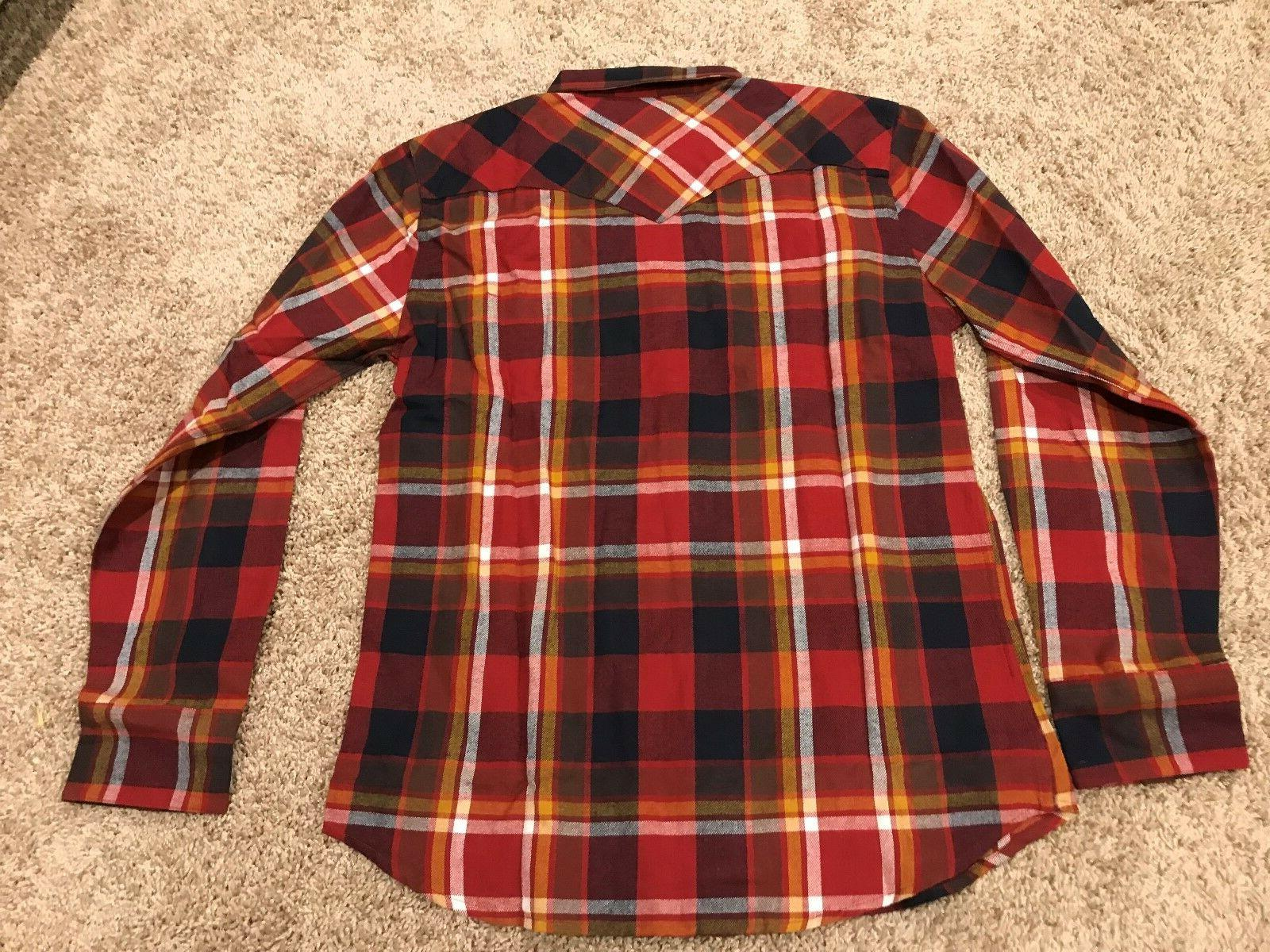 Levi's Button Flannel Red Mens Large RT $50 NWT