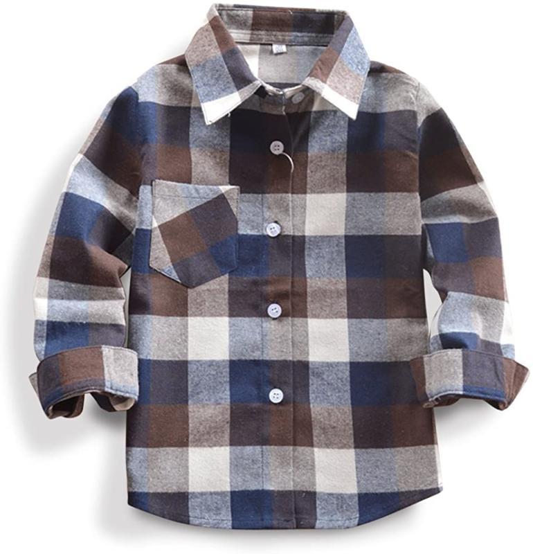 little big boys plaid flannel button down
