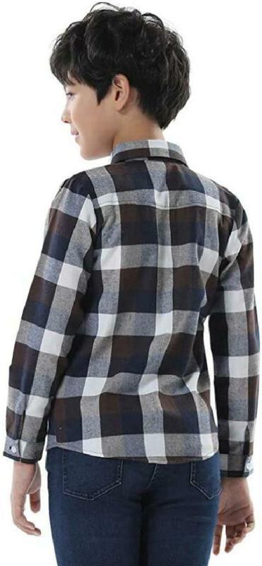 OCHENTA Little Big Boys Plaid Flannel Button Down Shirt
