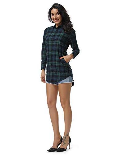 Women's Long Sleeve Boyfriend Style Shirt Dress Casual Tops C004BF Green L