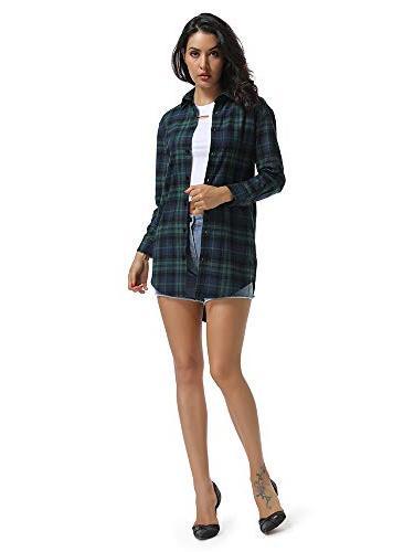 Women's Long Boyfriend Style Plaid Dress Casual C004BF