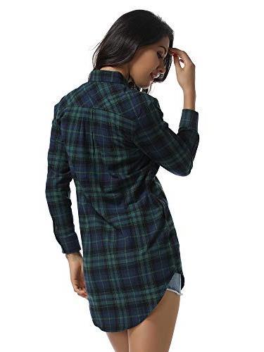 Women's Long Style Shirt Casual Tops C004BF Green L