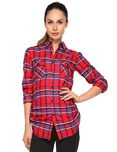 Match Women's Long Sleeve Button Down Flannel Shirt #B003