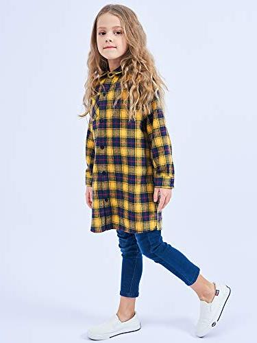 OCHENTA Button Plaid Flannel Shirt Dress NC010 Yellow Navy 5-6Y