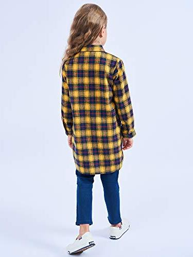 OCHENTA Girls' Long Button Down Plaid Shirt Dress Yellow Navy 5-6Y